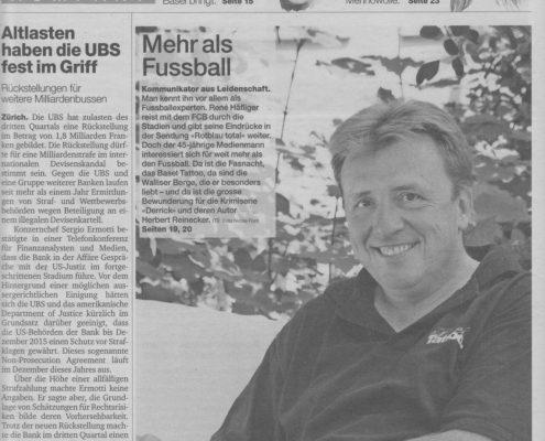 René Häfliger Medien Service / Basler Zeitung Kompakt / 30.10.2014
